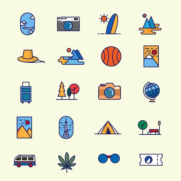 Zestaw ikon podróży podróżna ikona turystyki płaskiej linii w wielu minimalistycznym nowoczesnym stylu Premium Wektorów