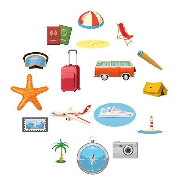 Zestaw ikon podróży Premium Wektorów