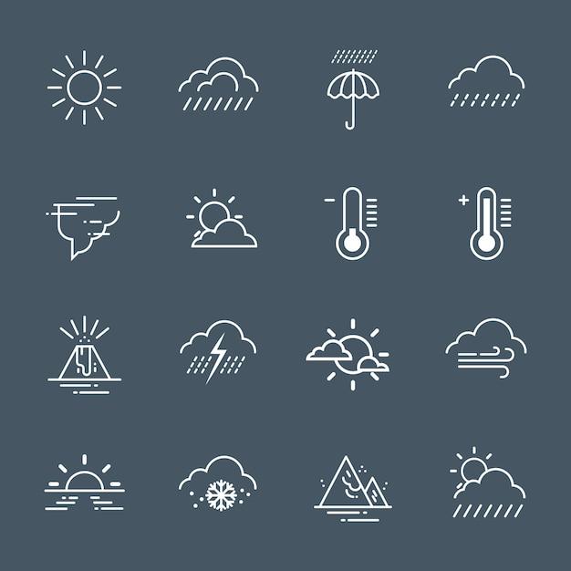 Zestaw Ikon Pogody Na Szarym Tle Prognozy Klimatycznej Kolekcji Premium Wektorów