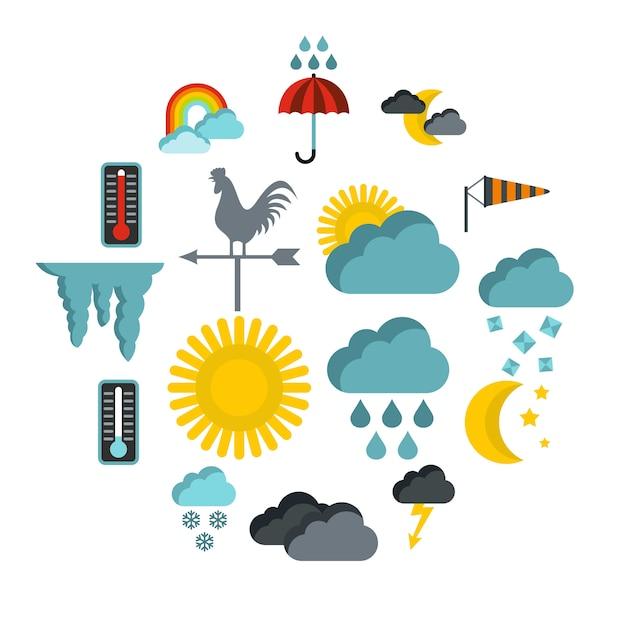 Zestaw ikon pogody, płaski Premium Wektorów