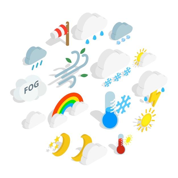 Zestaw ikon pogody, styl izometryczny Premium Wektorów