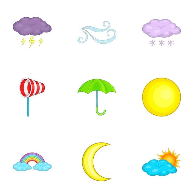 Zestaw ikon pogody, stylu cartoon Premium Wektorów