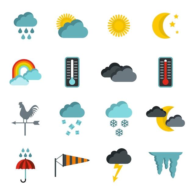 Zestaw ikon pogody Premium Wektorów
