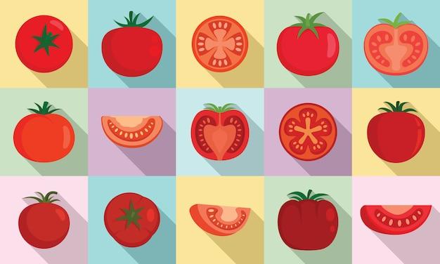 Zestaw ikon pomidorów, płaski Premium Wektorów