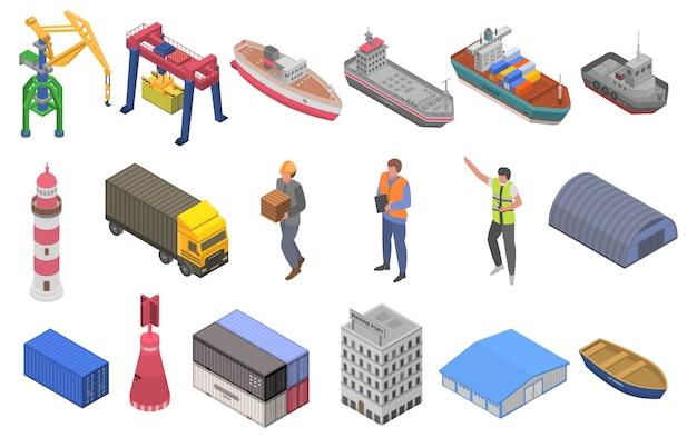 Zestaw Ikon Portu Morskiego, Styl Izometryczny Premium Wektorów