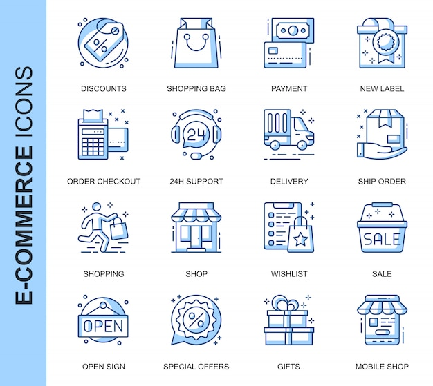 Zestaw Ikon Powiązanych Z Cienką Linią Handlu Elektronicznego Premium Wektorów