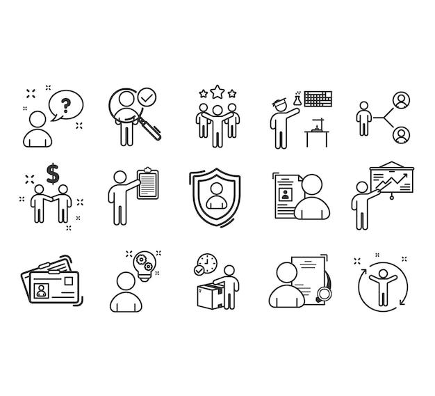 Zestaw Ikon Pracy Zespołowej Do Sukcesu Premium Wektorów