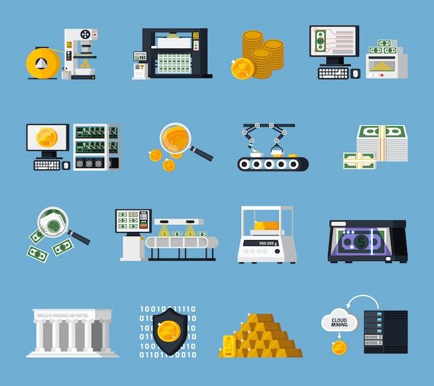 Zestaw ikon produkcji pieniądze Darmowych Wektorów