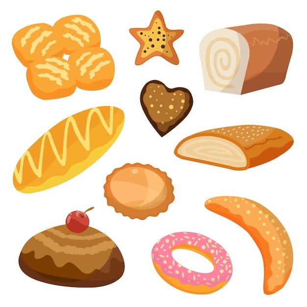 Zestaw Ikon Produktów Piekarniczych I Cukierniczych Premium Wektorów