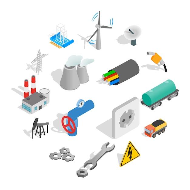 Zestaw Ikon Przemysłowych, Styl Izometryczny Premium Wektorów