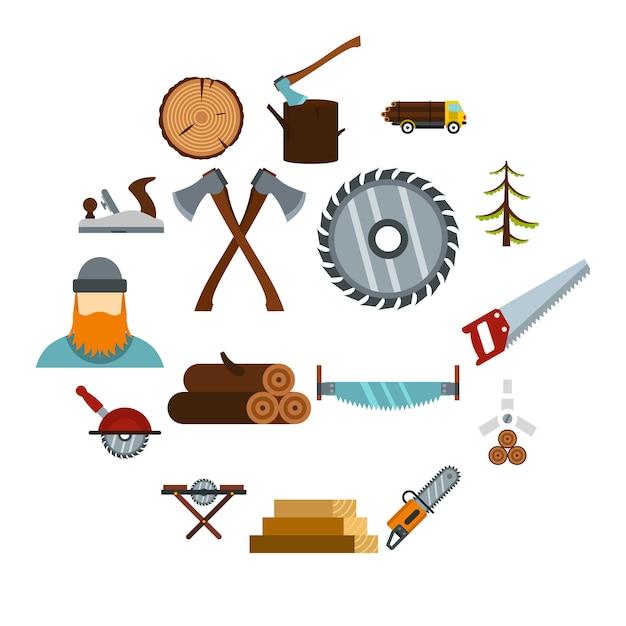 Zestaw Ikon Przemysłu Drzewnego, Płaski Premium Wektorów