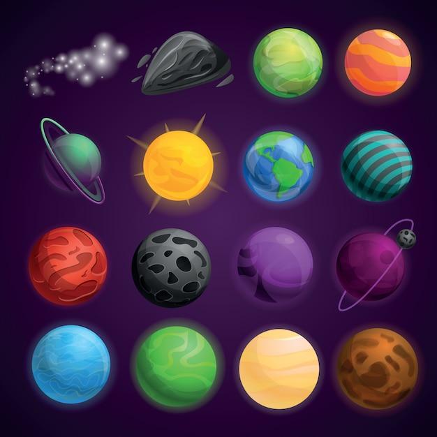 Zestaw ikon przestrzeni planet Premium Wektorów