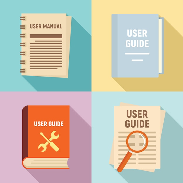 Zestaw ikon przewodnika użytkownika, płaski Premium Wektorów