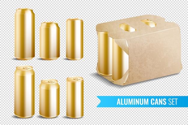 Zestaw Ikon Przezroczyste Aluminiowe Puszki Darmowych Wektorów