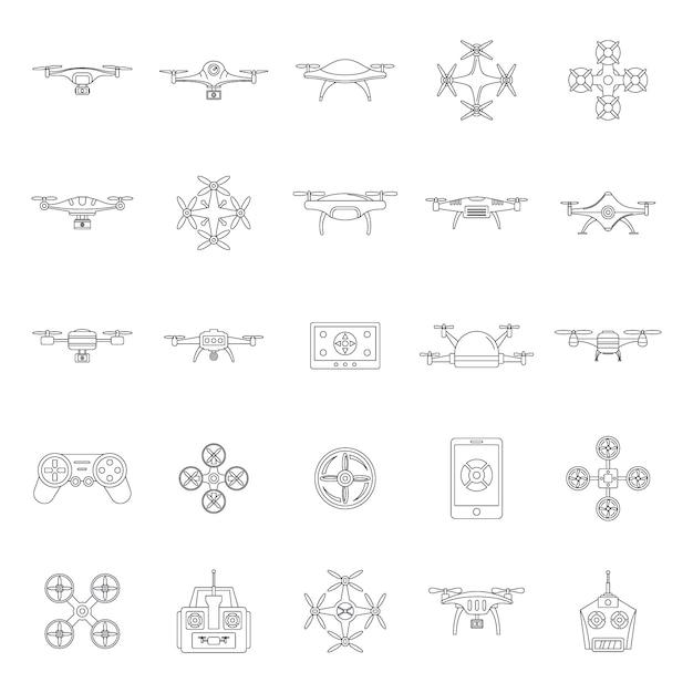 Zestaw ikon quadkoptera aparatu drone Premium Wektorów