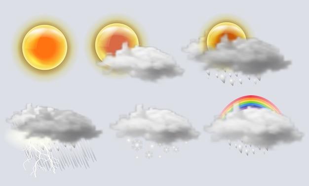 Zestaw Ikon Realistyczne Pogody. Słońce, Chmura, Tęcza, Burza, Deszcz Premium Wektorów