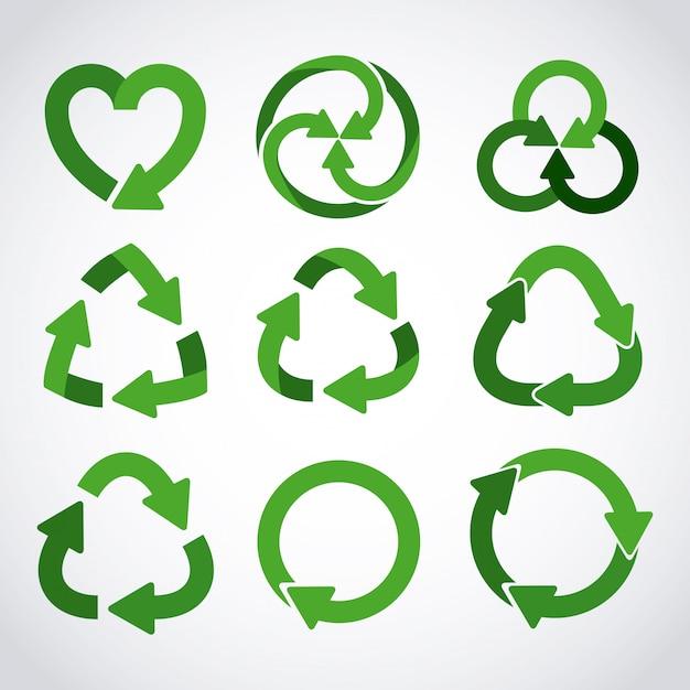 Zestaw Ikon Recyklingu Premium Wektorów