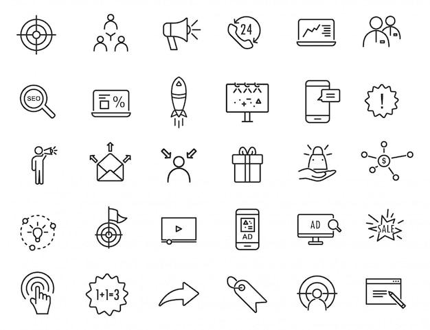 Zestaw ikon reklamy liniowej. marketingowe ikony w prostym projekcie. Premium Wektorów