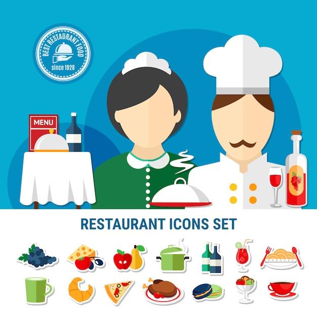 Zestaw ikon restauracji Darmowych Wektorów
