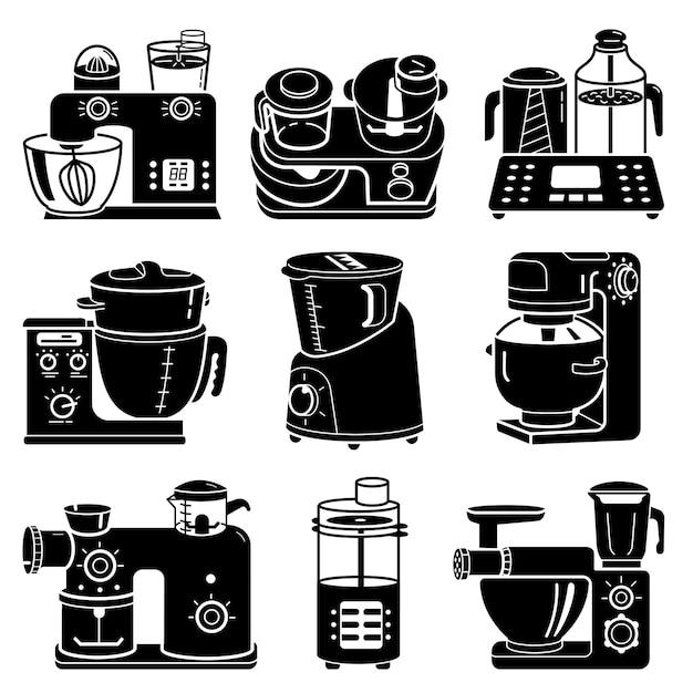 Zestaw ikon robot kuchenny, prosty styl Premium Wektorów