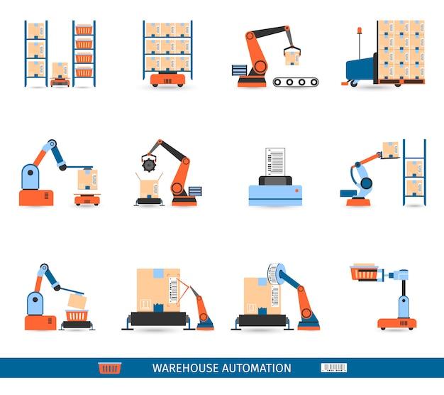Zestaw ikon robotów magazynowych Darmowych Wektorów