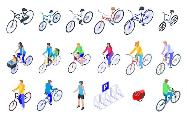 Zestaw ikon rodziny rowerów, izometryczny styl Premium Wektorów