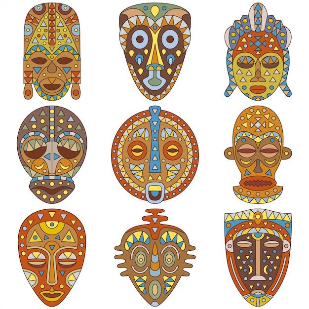 Zestaw Ikon. Różne Maski Etniczne. Ilustracja Premium Wektorów