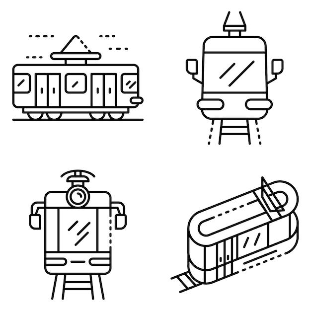 Zestaw ikon samochodów tramwajowych. zarys zestaw ikon wektorowych tramwajów Premium Wektorów
