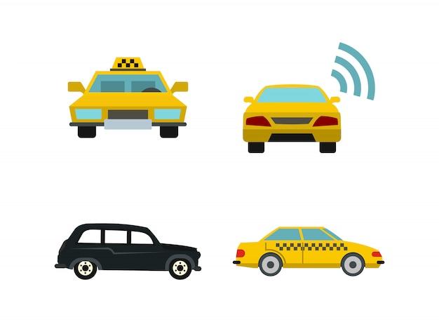 Zestaw ikon samochodu taxi. płaski zestaw taxi samochód wektor zbiory ikon na białym tle Premium Wektorów