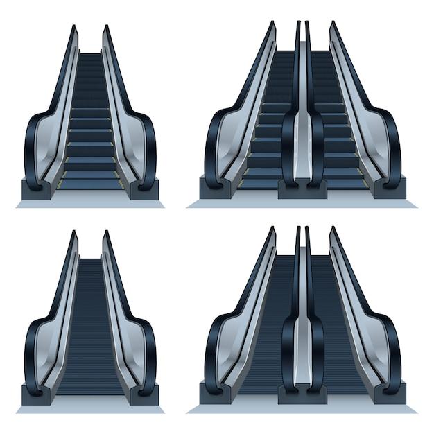 Zestaw ikon schodów ruchomych, realistyczny styl Premium Wektorów
