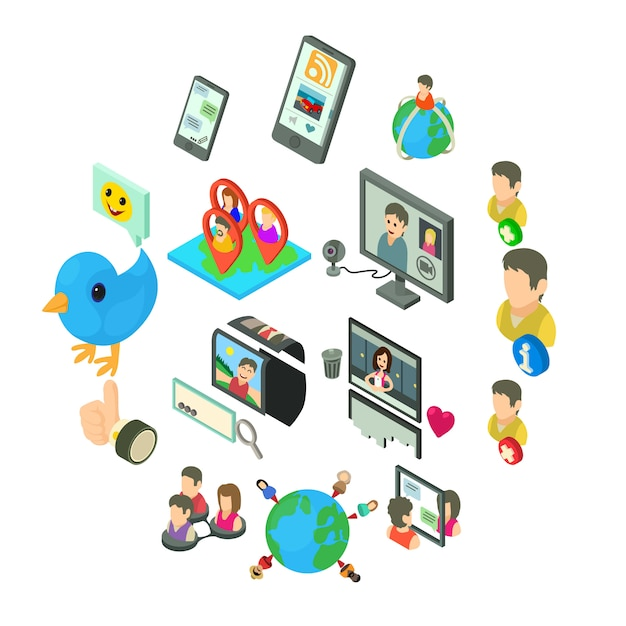 Zestaw Ikon Sieci Społecznej, Styl Izometryczny Premium Wektorów