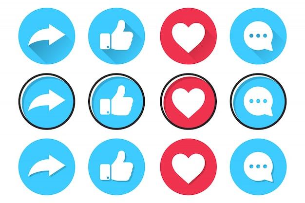 Zestaw Ikon Sieci Społecznościowych W Płaskiej Konstrukcji. Udostępniaj, Polub, Serduszko I Komentuj Premium Wektorów