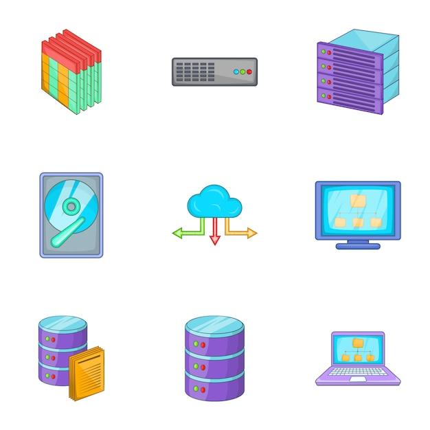 Zestaw ikon sieci, stylu cartoon Premium Wektorów
