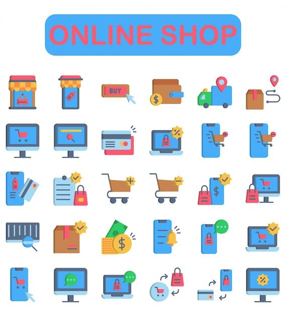 Zestaw Ikon Sklep Internetowy, Płaski Premium Wektorów