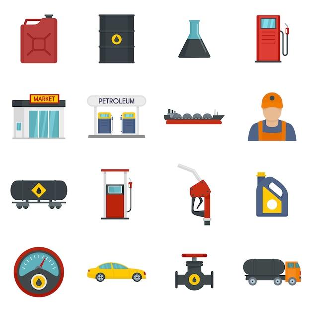 Zestaw Ikon Sklepu Paliwa Gazowego Stacji Benzynowej Premium Wektorów