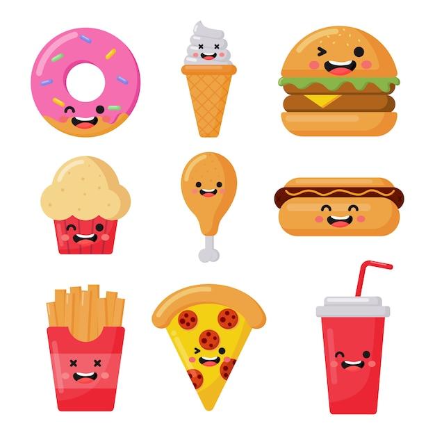 Zestaw ikon śmieszne kawaii stylu fast food słodkie na białym tle Premium Wektorów