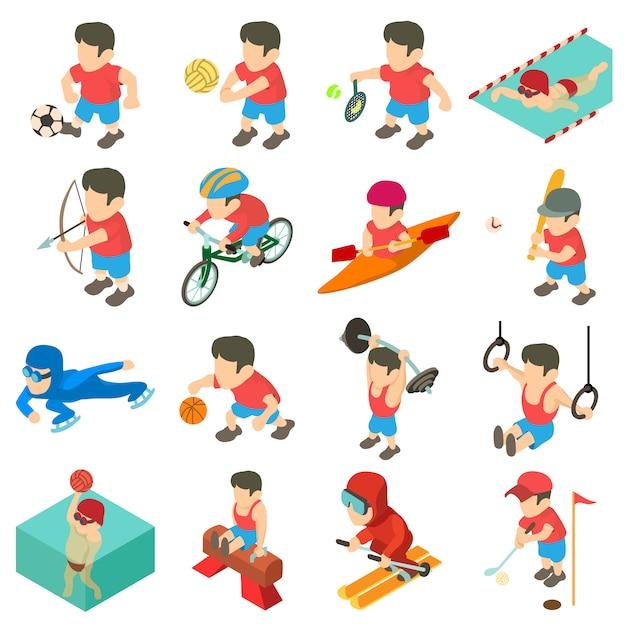 Zestaw ikon sportowych. izometryczna ilustracja 16 sportowych ikon wektorowych dla sieci web Premium Wektorów