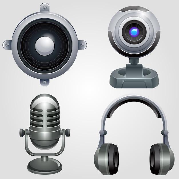 Zestaw Ikon Sprzętu Hi-tech. Technologia Urządzeń Elektronicznych. Premium Wektorów