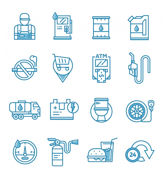Zestaw Ikon Stacji Benzynowej I Benzynowej W Stylu Konspektu Premium Wektorów