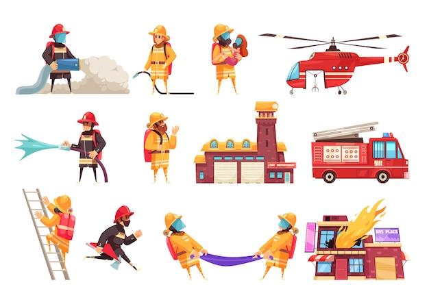 Zestaw Ikon Straży Pożarnej Darmowych Wektorów