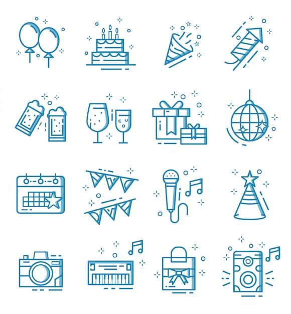 Zestaw ikon stron w stylu konspektu Premium Wektorów