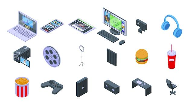 Zestaw Ikon Strumienia. Izometryczny Zestaw Ikon Wektorowych Strumienia Do Projektowania Stron Internetowych Na Białym Tle Premium Wektorów