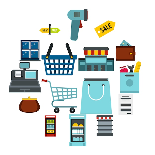 Zestaw Ikon Supermarketu, Płaski Ctyle Premium Wektorów