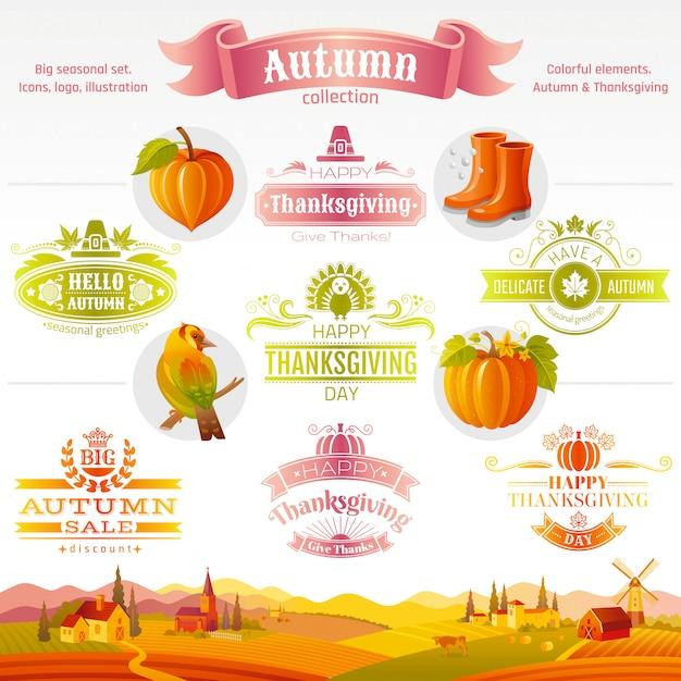 Zestaw Ikon święto Dziękczynienia. Logo Festiwalu Kreskówki Ikony I Logo Z Wiejskiego Krajobrazu Tłem. Premium Wektorów