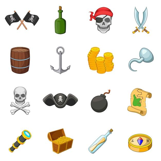 Zestaw Ikon Symboli Kultury Piratów Premium Wektorów