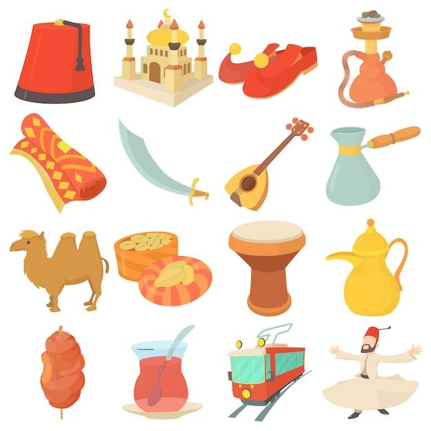 Zestaw Ikon Symboli Podróży Turcji Premium Wektorów