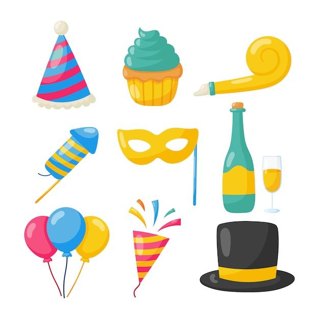 Zestaw Ikon Szczęśliwy Urodziny Premium Wektorów