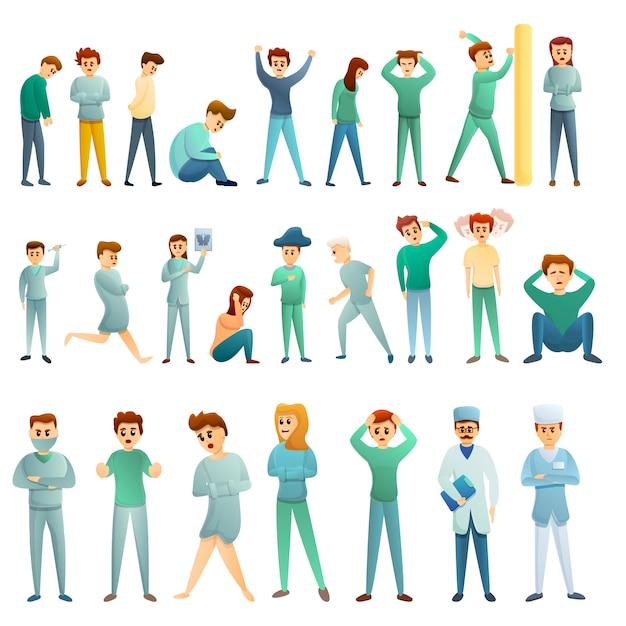 Zestaw ikon szpitala psychiatrycznego, stylu cartoon Premium Wektorów