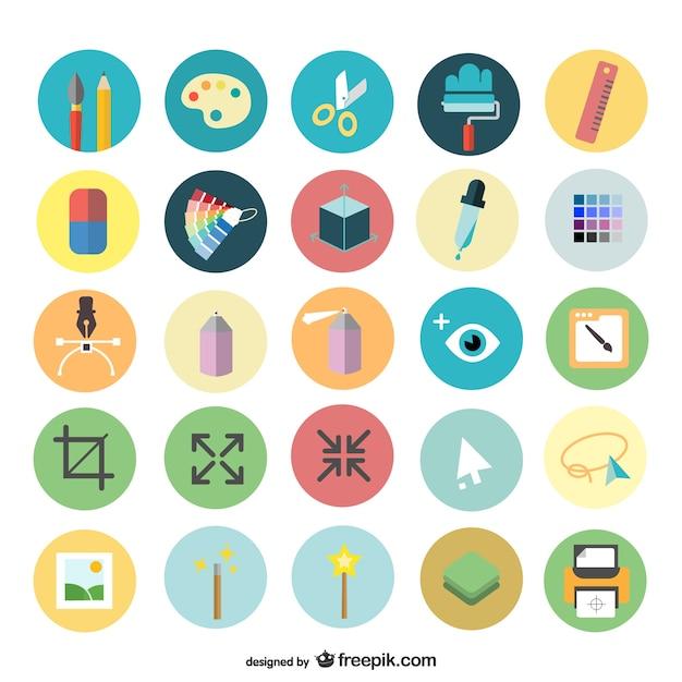 Zestaw Ikon Sztuki Projektowania Darmowych Wektorów
