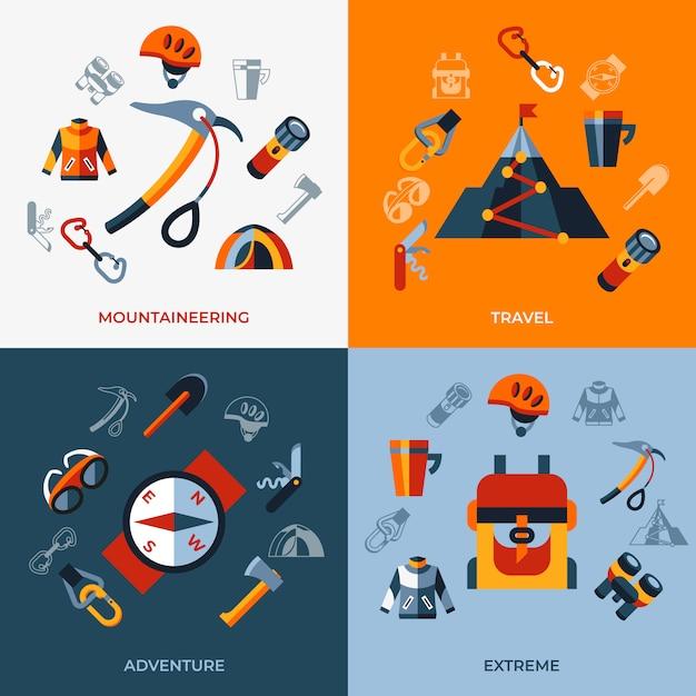 Zestaw Ikon Technologii Alpinizmu Premium Wektorów